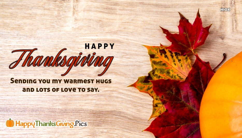 Sending You My Warmest Hugs and Lots Of Love To Say. Happy Thanksgiving