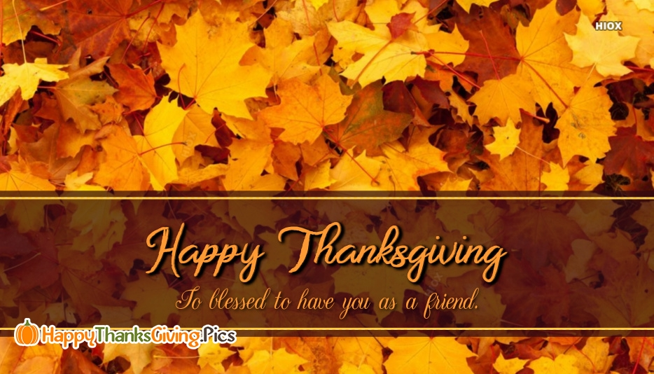 So Blessed To Have You As A Friend. Happy Thanksgiving